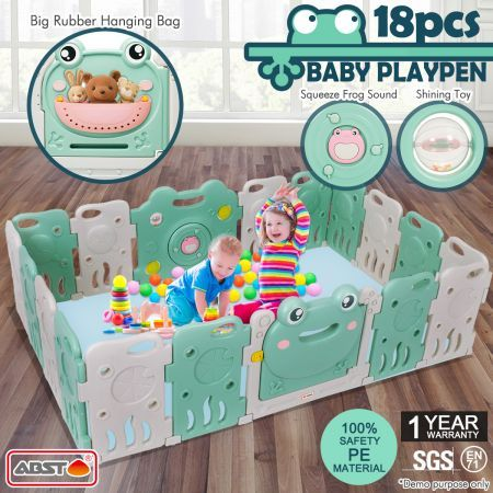 ABST 18 Sided Panel Baby Playpen Interactive Kids Safety Gates Toddler Play Room - Frog Design