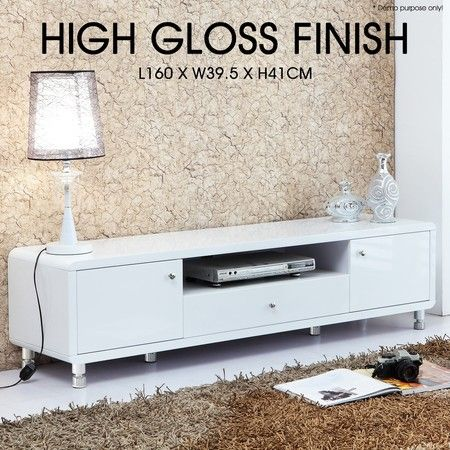Modern High Gloss TV Stand Cabinet - White