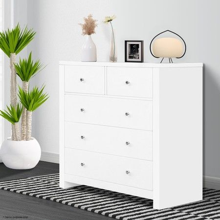 Matt Modern 5 Drawer Chest - White