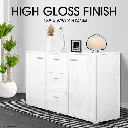High Gloss 2 Door 3 Drawer Buffet Cabinet - White
