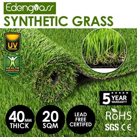 20 SQM 40mm Artificial Grass Synthetic Turf Fake Lawn Flooring