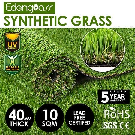 10 SQM 40mm Artificial Grass Synthetic Turf Fake Lawn Flooring