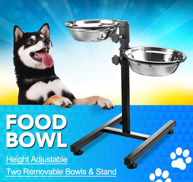 Pet Bowl Height Adjustable 2 Removable Bowls Amp Stand Dog