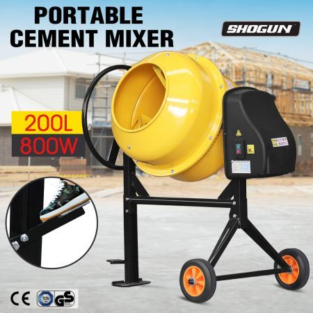 200L Portable Cement Mixer Electric Waterproof Heavy-Duty Concrete Mixer w/Double Blades