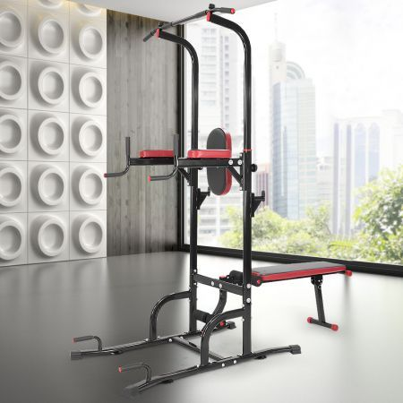 2446b99702c Powertrain Multi Station Pull-up Chin-Up Tower with Exercise Bench ...