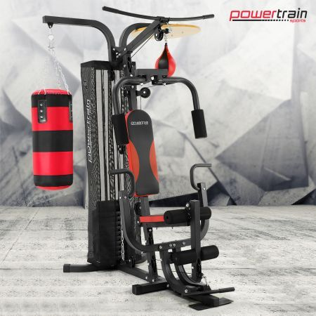 Powertrain Home Gym Station with Boxing Punching Bag & Speed Ball