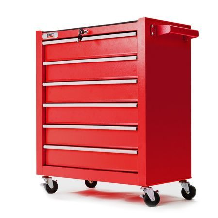 6 Drawer Tool Box Cabinet with Castors - Red