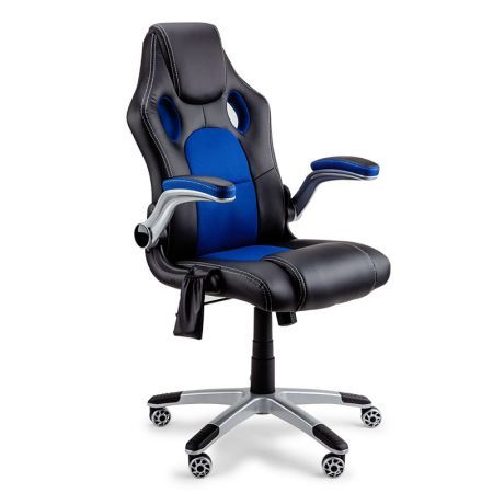 8 Point Massage Racing Office Chair - Black/Blue