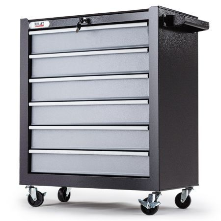 6 Drawer Tool Box Cabinet - Black/Silver