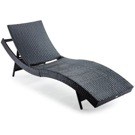 Wicker S-Shaped Outdoor Sun Lounge - Black