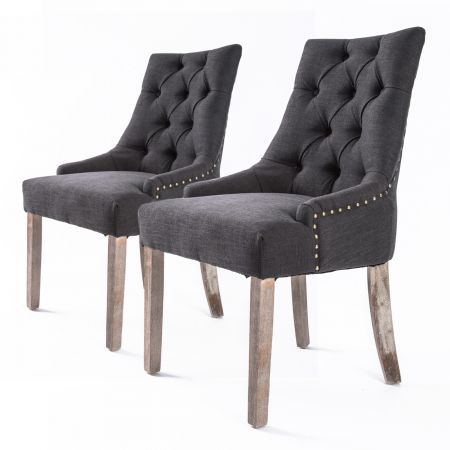 Set Of 2 French Provincial Oak Leg Chair Amour - Black