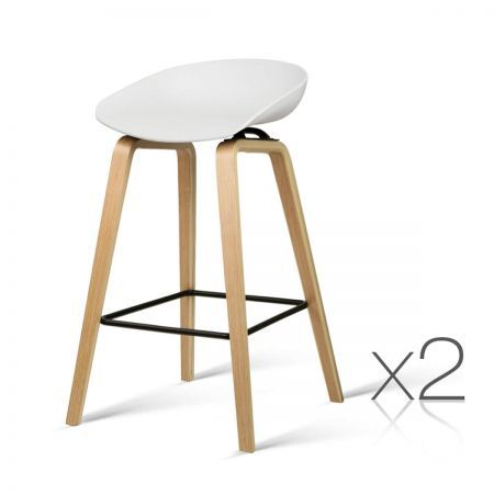 Set of 2 Wooden Bar Stools with Metal Footrest - White