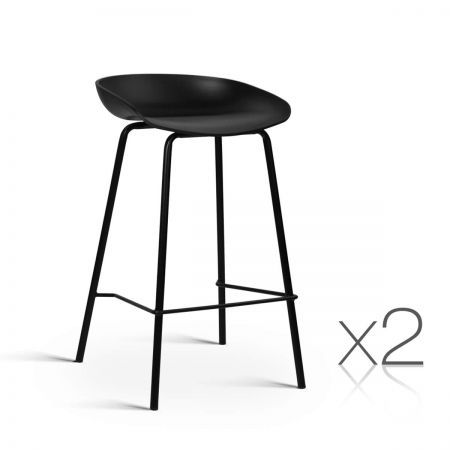 Set of 2 Bar Stools with PP Plastic Seat - Black