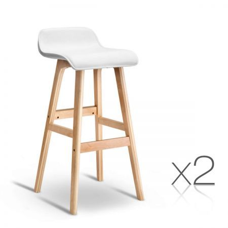 Set of 2 PU Leather Bar Stools with Rubber Protector - White