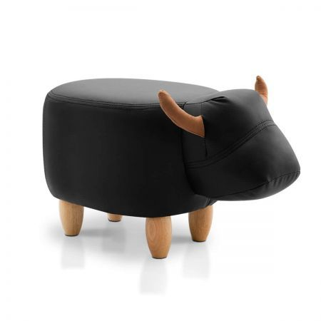 Keezi Kids Ottoman Foot Stool Toy Cow Chair Animal Pouffe Rest Leather Black