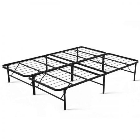 Folding Bed Frame Queen with Extra Storage Space Under the Bed - Black