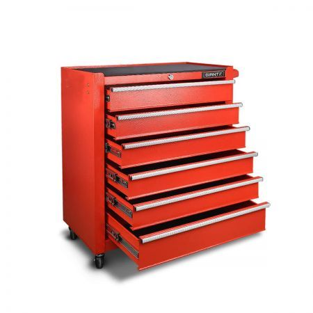 6-Drawer Tool Trolley with Ball Bearing Slide - Red