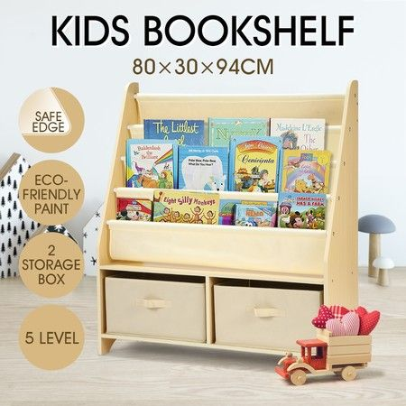 5-Level Kids Wood Bookshelf Bookcase Canvas Sling Toy Storage Organizer Display Shelf w/2 Bins