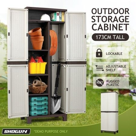 Shogun 173cm Lockable Outdoor Storage Cabinet Cupboard Garage Carport Shed