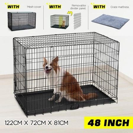 "48"" Large Dog Crate Kennel Collapsible Metal Pet Cat dog Cage"
