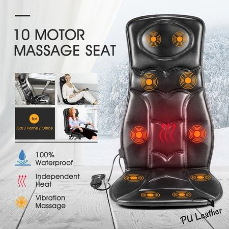 10 Motor Vibration Massage Chair Pad Cushion w/heat for Home Office Car