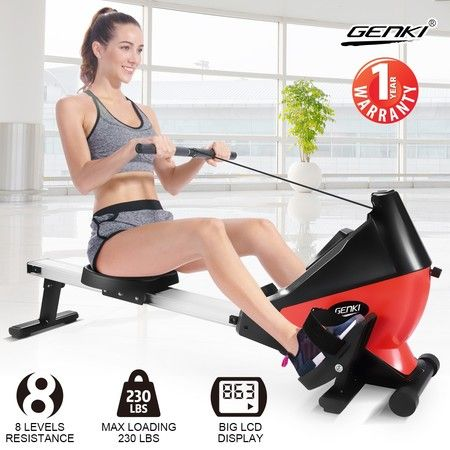 Genki Magnetic Exercise Rowing Machine Fitness Equipment Home Workout Rower - Red