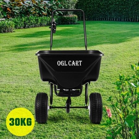 30kg Walk Behind Broadcast Spreader Lawn Seed Fertilizer Farm Seeder Machinery