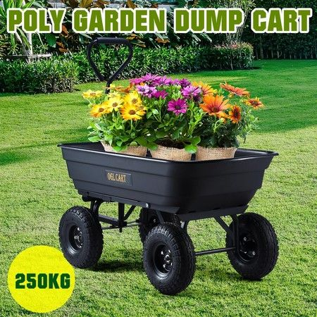 250kg Poly Dump Cart Garden Trolley Wagon Hand Trailer Yard Lawn Wheelbarrow
