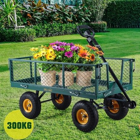 300kg Garden Cart Mesh Side Trolley Wagon Farm Wheelbarrow ATV Trailer - Green