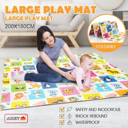 180cm x 200cm Colorful Baby Kid Play Mat Baby Playpen w/Alphabet Animal Texture