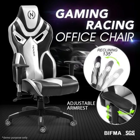 Ergonomic High Back Gaming Racing Chair PU Leather Computer Sport Race Seat - Sliver & Black