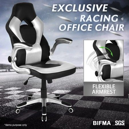 Executive PU Leather Office Computer Chair Ergonomic Sport Gaming Racing Seat - Sliver & Black