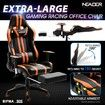 Ergonomic Office Computer Chair PU Leather Sport Gaming Race Seat w/ Footrest - Orange & Black
