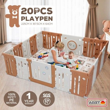20 Panel Baby Playpen Kids Safety Gates Interactive Toddler Play Room Child Barrier