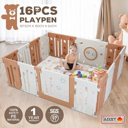 16 Panel Baby Playpen Kids Safety Gates Interactive Toddler Play Room Child Barrier