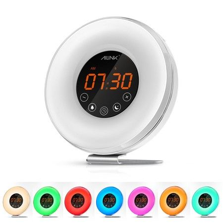 Ailink Digital Alarm Clock Sunrise Wake Up LED Light FM Radio Bedside Night Lamp