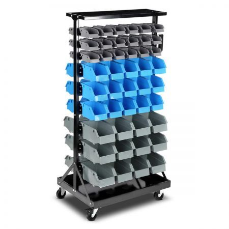 90-Bin Storage Rack Stand 9-Tier Steel Frame