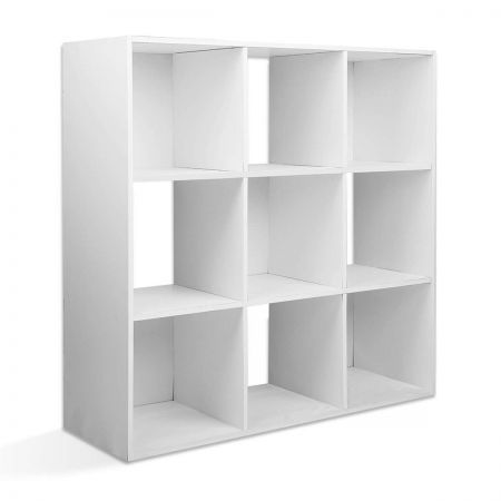 9-cube Display Storage Shelf Free Standing - White