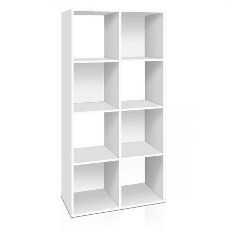 8-cube Display Storage Shelf Free Standing - White