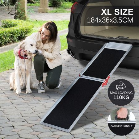 Petscene 184CM Dog Car Ramp Folding Portable Pet Doggy Steps Ladder for Truck Van SUV