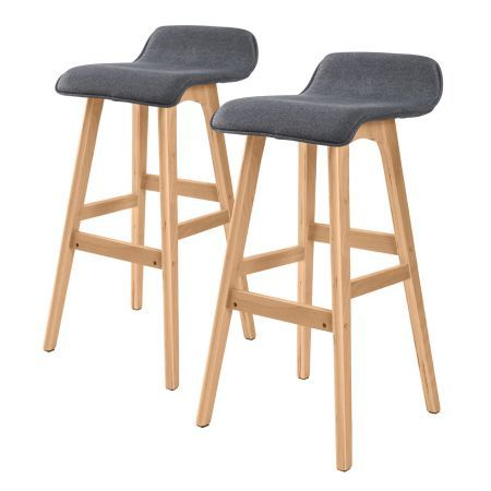 2X 74cm Oak Wood Bar Stool Fabric SOPHIA - GREY