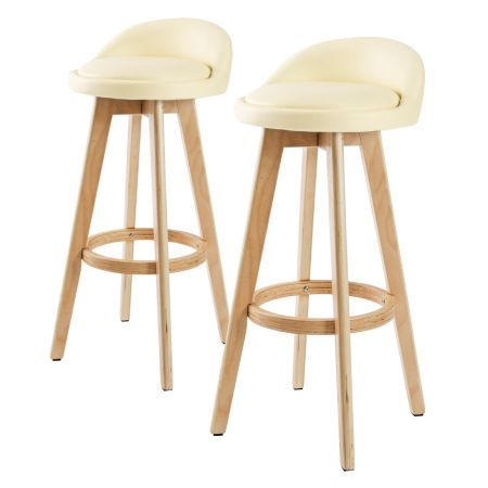2X 72cm Oak Wood Bar Stool Leather LEILA - CREAM