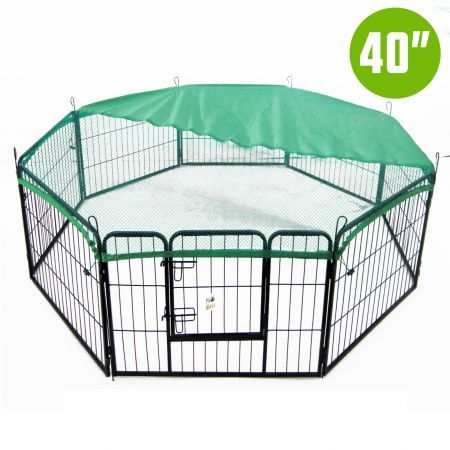 "8 Heavy Duty Panel Foldable Pet Playpen 40"" with Cover - Green"