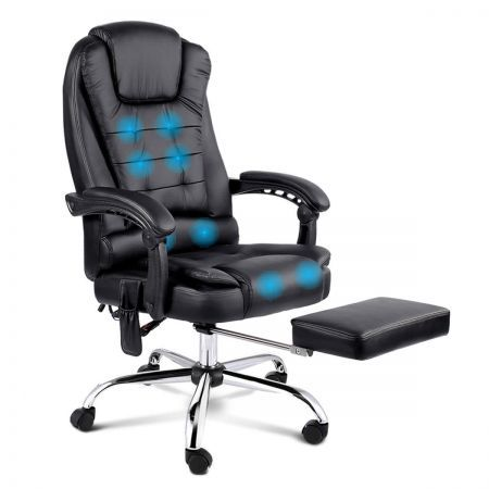 8-point Massage Office Chair with Retractable Footrest - Black