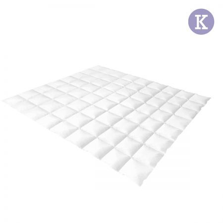 Lightweight Duck Down Feather Quilt King - White