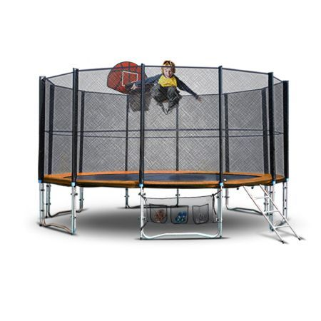 16ft Round Spring Trampoline Basketball Set