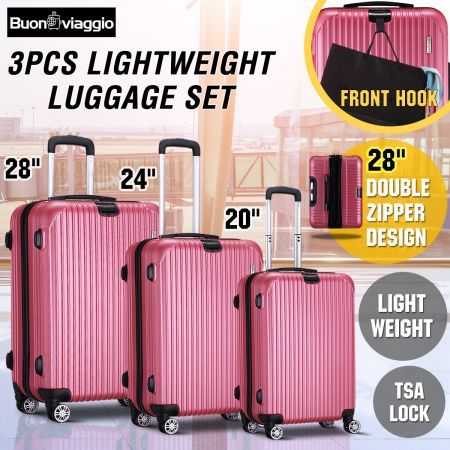 3 Piece Expandable Spinner Luggage Suitcase Set w/TSA Lock - Rose Gold