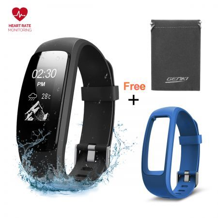 Fitness Tracker, Heart Rate Monitor Smart Watch Activity Tracker+ Free Band, IP67 Waterproof, 14 Exercise Modes, Sleep Monitor Wristband, GPS Route Tracking Step Counter, Mulit-Touch Fast Swift Screen