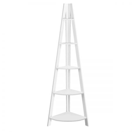 5 Tier Corner Ladder Bookshelf - White