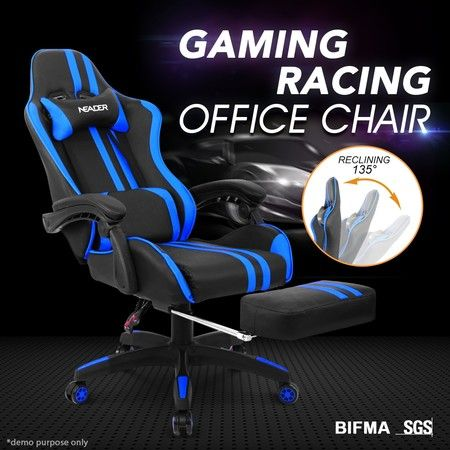 PU Office Chair Ergonomic Gaming Racing Computer Sport Race Chair w/Footrest - Blue & Black